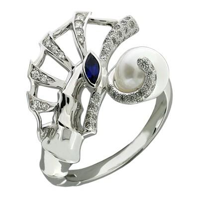 Кольцо с бриллиантами, сапфиром и жемчугом, Золото 585