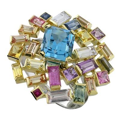 Кольцо с бриллиантами, сапфирами, рубинами и топазом, Золото 750
