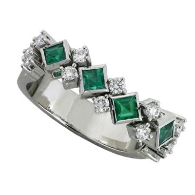 Кольцо с бриллиантами и изумруды, Золото 585
