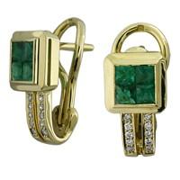 Серьги с бриллиантами и изумрудами , Золото 750