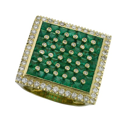 Кольцо с бриллиантами и изумрудами, Золото 750