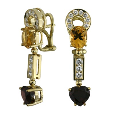 Серьги с бриллиантами, гранатами и цитринами, Золото 750