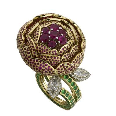 Кольцо с бриллиантами, рубинами, сапфирами и тсаворитами, Золото 750