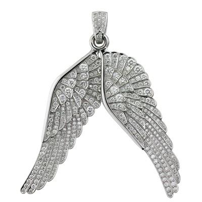 Подвеска крылья с бриллиантами, Золото 585