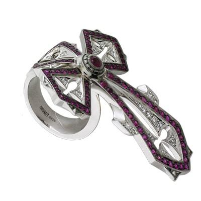 Кольцо с бриллиантами и рубинами, Золото 585