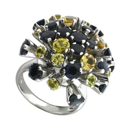 Кольцо с сапфирами , Золото 585