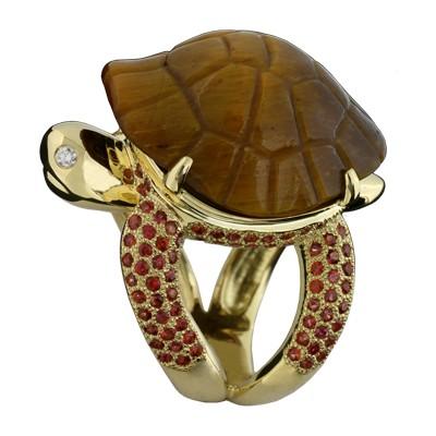 Кольцо с бриллиантами, тигровым глазом и сапфирами, Золото 750