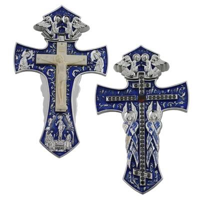 Крест с облагороженными бриллиантами, гранатом, кость, Золото 585