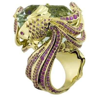 Кольцо с сапфирами и рубинами, Золото 750
