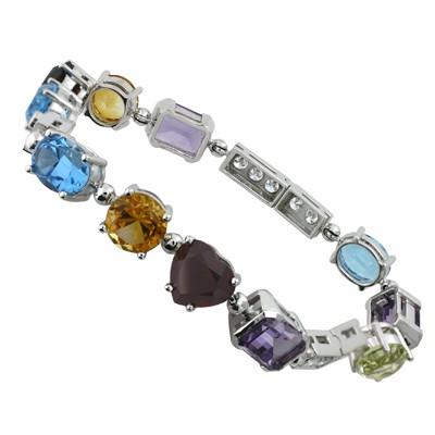 Браслет с бриллиантами и драгоценными камнями, Золото 585