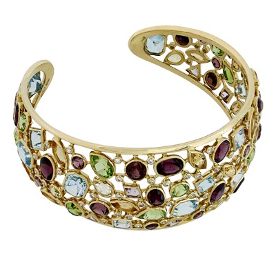 Браслет с бриллиантами и полудрагоценными вставками, Золото 750
