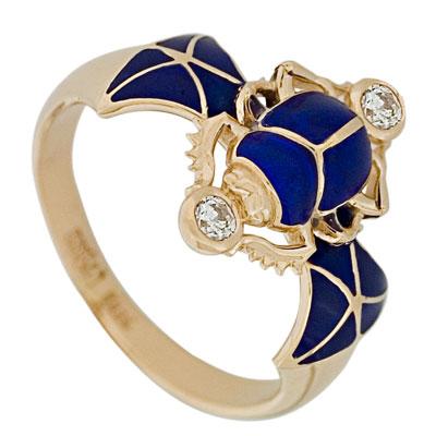 Кольцо с эмалью, Золото 585