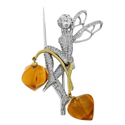 Брошь с бриллиантами и цитринами, Золото 750