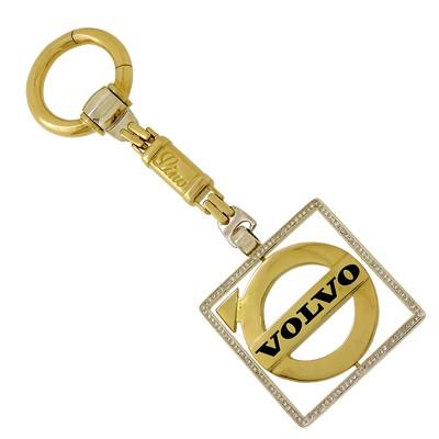Брелок с бриллиантами и эмалью VOLVO, Золото 750