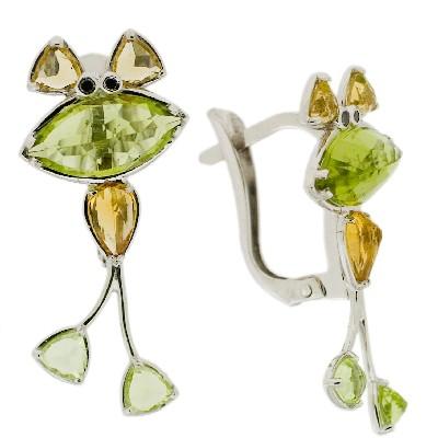 Серьги с бриллиантами и полудрагоценными вставками, Золото 585