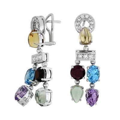 Серьги с бриллиантами и полудрагоценными цветными вставками, Золото 585