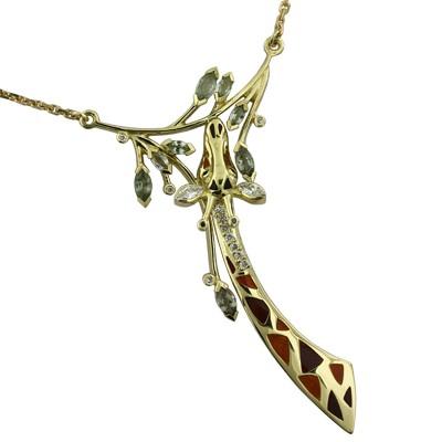 Колье с бриллиантами и сапфирами, эмаль, Золото 750