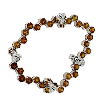 Браслет с бриллиантами и цитринами, эмаль, Золото 585
