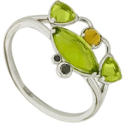 Кольцо с бриллиантами и полудрагоценными вставками, Золото 585