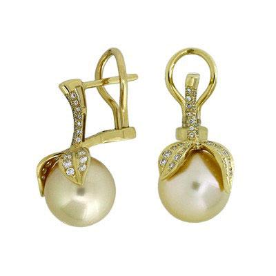 Серьги с бриллиантами и жемчугом, Золото 750