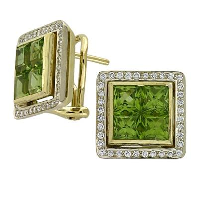 Серьги с бриллиантами и хризолитами, Золото 750