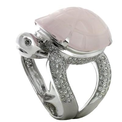 Кольцо с бриллиантами и кварцем, Золото 585