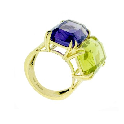 Кольцо с цитрином и аметистом, Золото 750