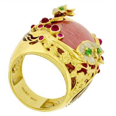 Кольцо с турмалином, рубинами, гранатами и эмалью, Золото 750