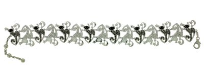 Браслет с бриллиантами и эмалью, Золото 585