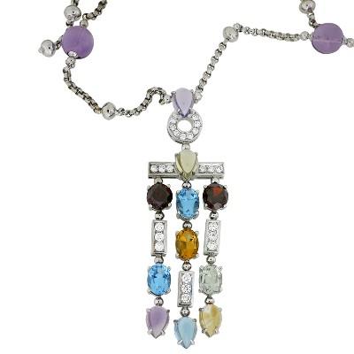 Колье с бриллиантами и цветными вставками, Золото 585