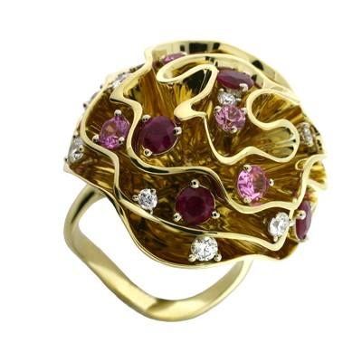Кольцо с бриллиантами, рубинами и сапфирами, Золото 750