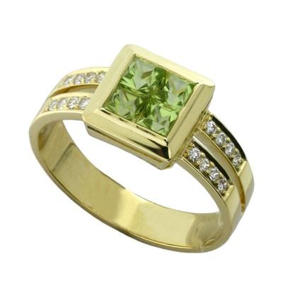 Кольцо с бриллиантами и хризолитами, Золото 750