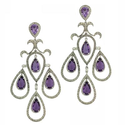 Серьги с бриллиантами и аметистами, Золото 585