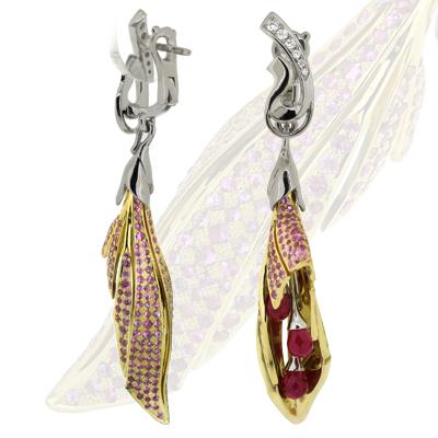 Серьги с бриллиантами, сапфирами и рубинами, Золото 750