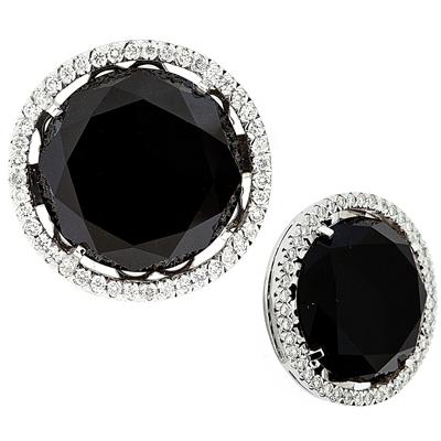 Серьги  с бриллиантами и ониксом, Золото 585