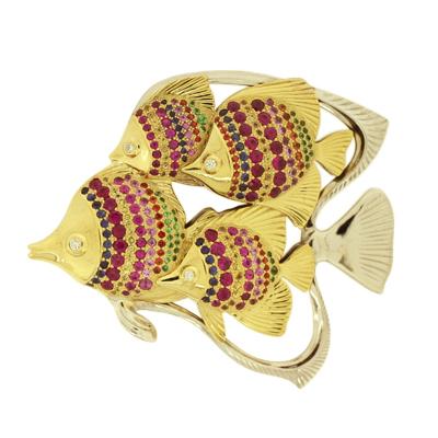 Подвеска с бриллиантами, сапфирами, рубинами, гранатами и эмалью, Золото 750