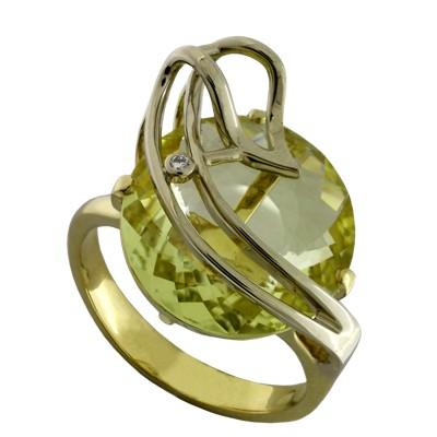 Кольцо с бриллиантом и цитрином, Золото 750