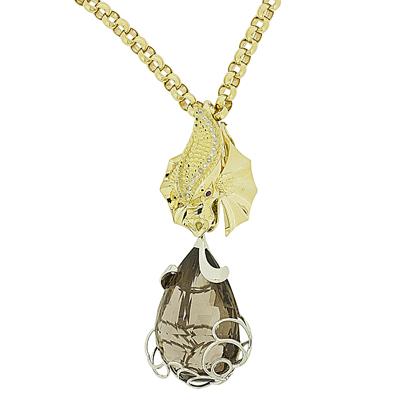 Подвеска с бриллиантами, рубинами и дымч.кварцем, Золото 750