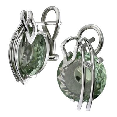 Серьги с бриллиантами и зеленым кварцем, Золото 585