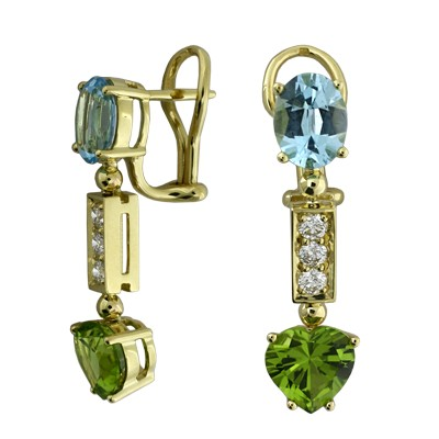 Серьги с бриллиантами, топазами и хризолитами, Золото 750