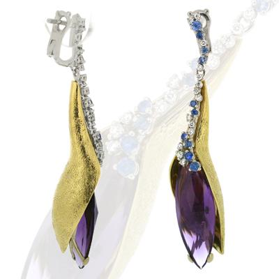 Серьги с бриллиантами, аметистами и сапфирами, Золото 750
