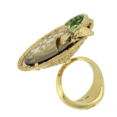 Кольцо с бриллиантами, цитринами и хризолитами , Золото 750