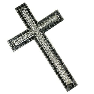 Подвеска крест с бриллиантами и облагороженными бриллиантами, Палладий 850