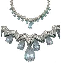 Колье с бриллиантами и аквамаринами, Палладий 850