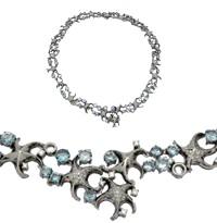 Колье с топазами и бриллиантами, Палладий 850