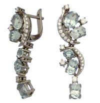 Серьги с бриллиантами и топазами, Палладий 850