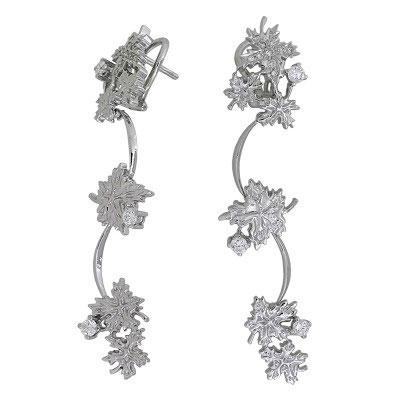 Серьги с бриллиантами, Палладий 850