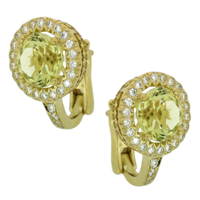 Серьги с бриллиантами, сапфирами и цитринами, Золото 750