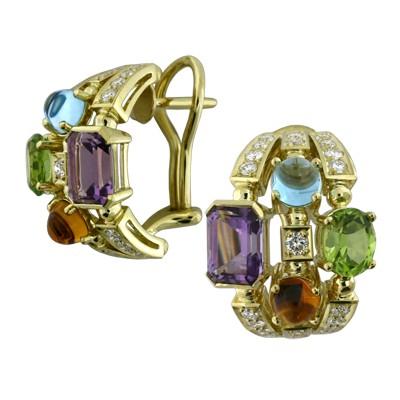 Серьги с бриллиантами и полудрагоценными вставками, Золото 750