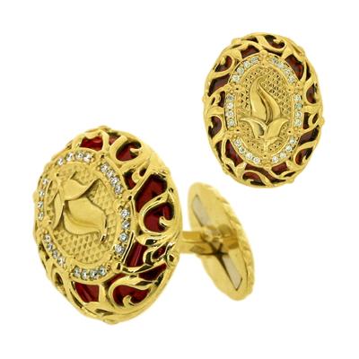 Запонки с бриллиантами и гранатом, Золото 750